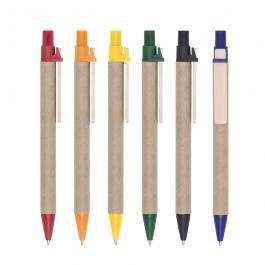 CANETA ECOLÓGICA PAPELÃO SM001 Caneta ecológica de papelão com detalhes coloridos.  Colorido Personalização UV  Clip de madeira e ponteira plástica