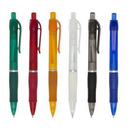 CANETA PLÁSTICA SM3011B Caneta plástica inteira colorida com anel prata. Impressão UV
