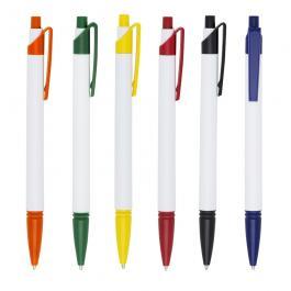 CANETA PLÁSTICA SM509 Caneta plástica corpo branco com detalhes coloridos.  13,9 cm x 1,4 cm Colorido Personalização UV Possui relevo na ponteira, aciona por clique