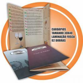 CARDÁPIO COUCHE  250GRS 4X4 CORES LAMINAÇÃO FOSCA 2 DOBRAS
